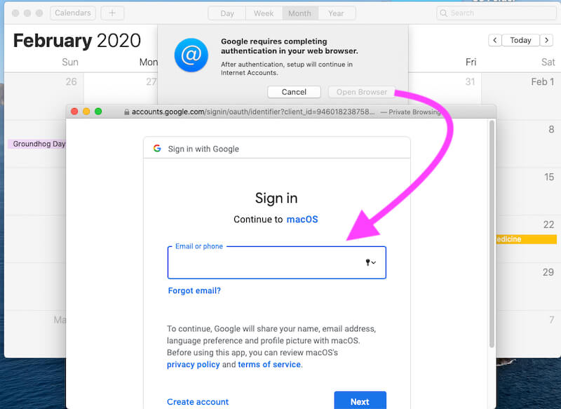 Authenticate your Calendar Account on Mac