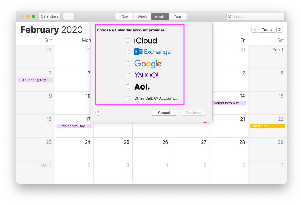Select and add Another Account on Mac Calendar app