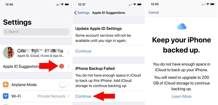 2 Fix iPhone Backup Failed take backup on iCloud