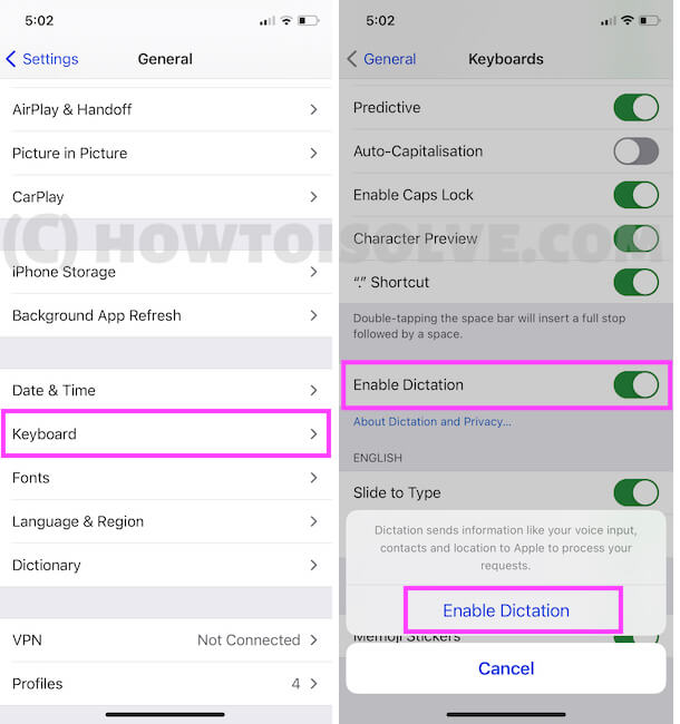 Enable Dictation from iPhone settings