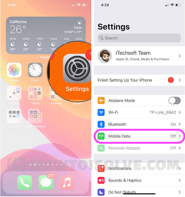 Mobile Data or Cellular Data Settings on iPhone