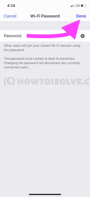 Type a new Personal Hotspot Password on iPhone
