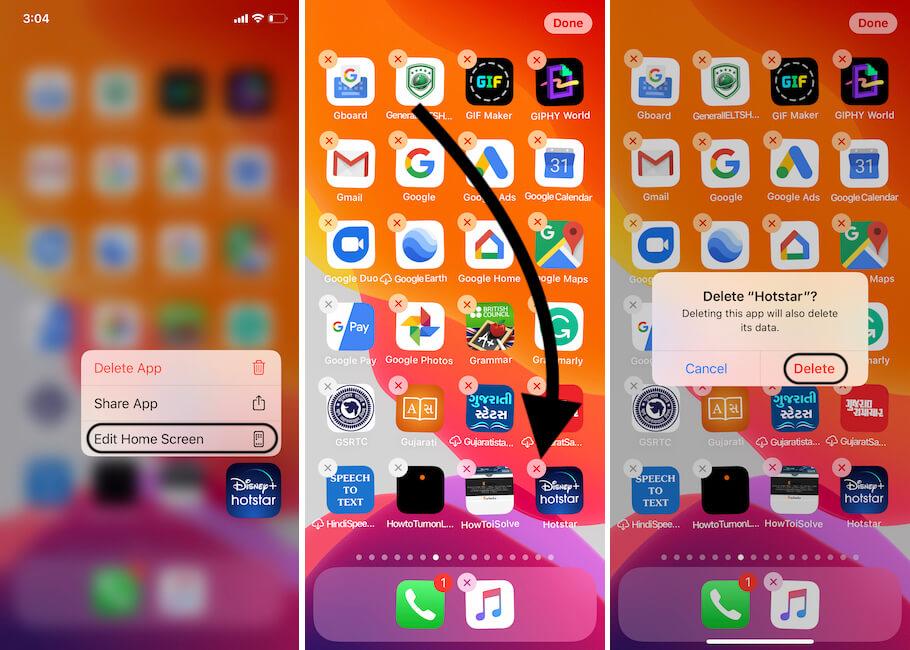 Delete Hotstart App on iPhone