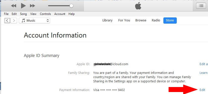 1 View Payment and Edit the details on iTunes