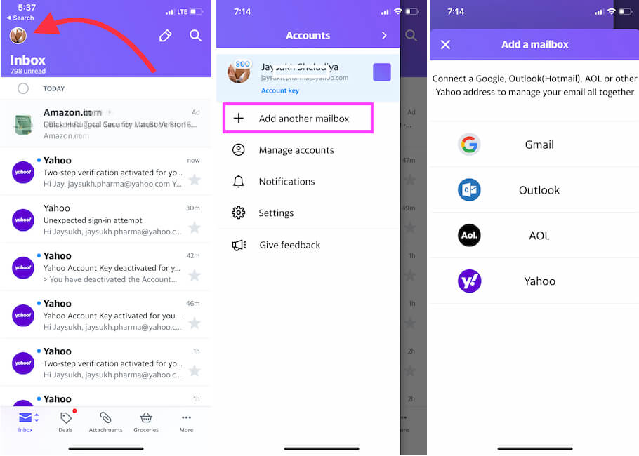 Add another mailbox on iPhone Yahoo mail app