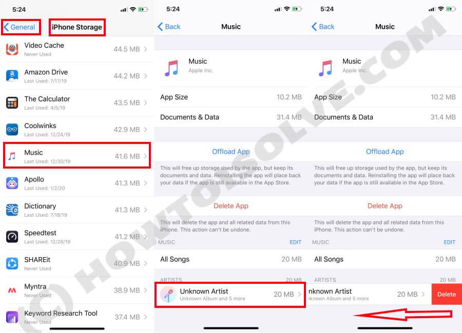 Delete Music on iPhone