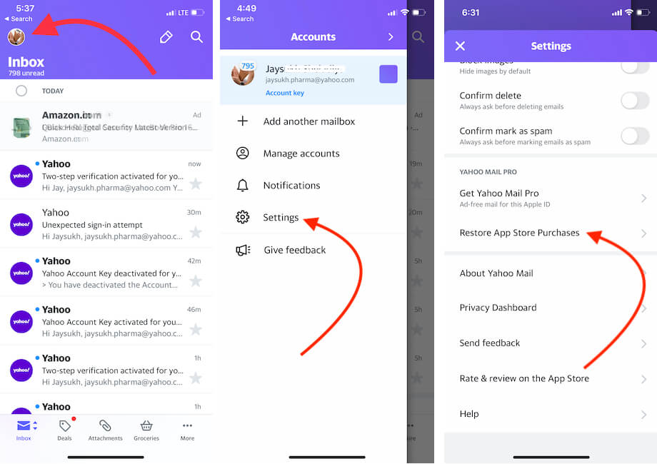 Restore Purchases of Yahoo mail App iPhone