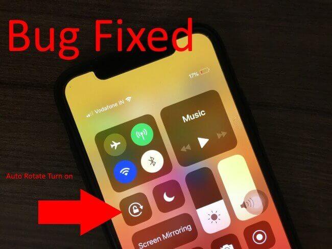 Turn on Auto Rotate screen on iPhone X bug