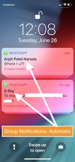 1 Group notification by Automatic in iOS 12