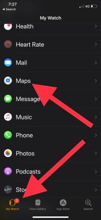 2 Apple watch Maps settings on iPhone in WatchOS 5 (1)
