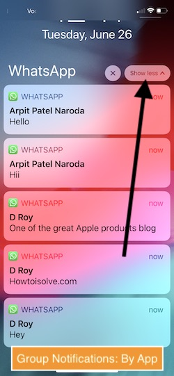 3 Group Notifications By app in iOS 12