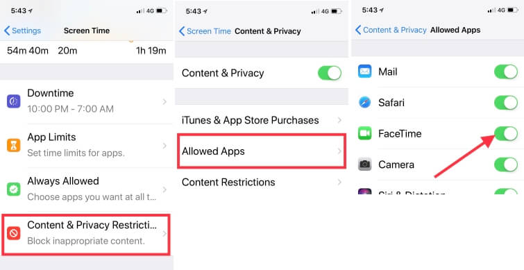 4 Disable Restriction on FaceTime on iPhone from Screen Time
