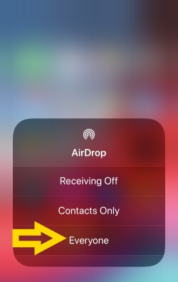 4 Turn on Aidrop for Everyone on iPhone