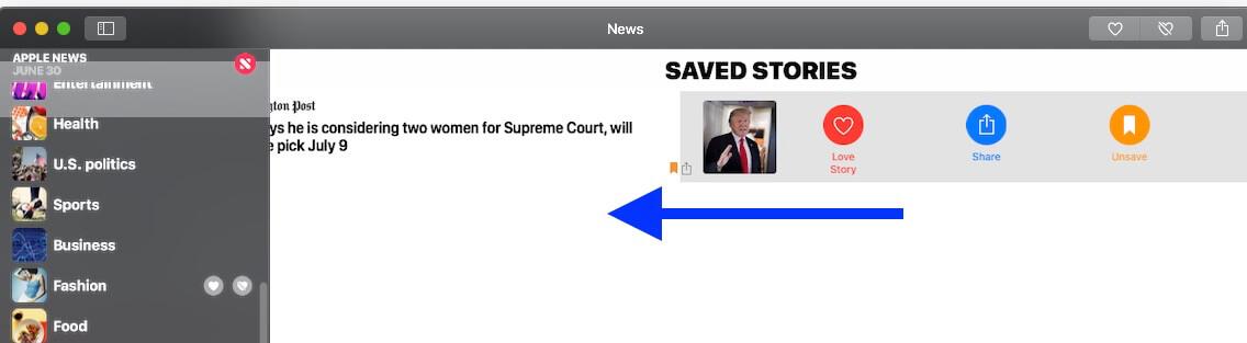 5 Unasave saved stories on Mac's news app