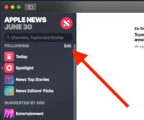 9 Edit news app Sidebar on Mac