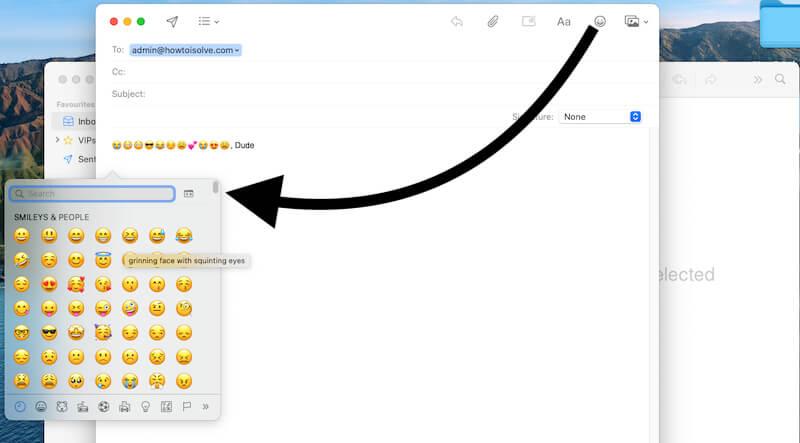 Add Emoji in mail app on macBook Mac