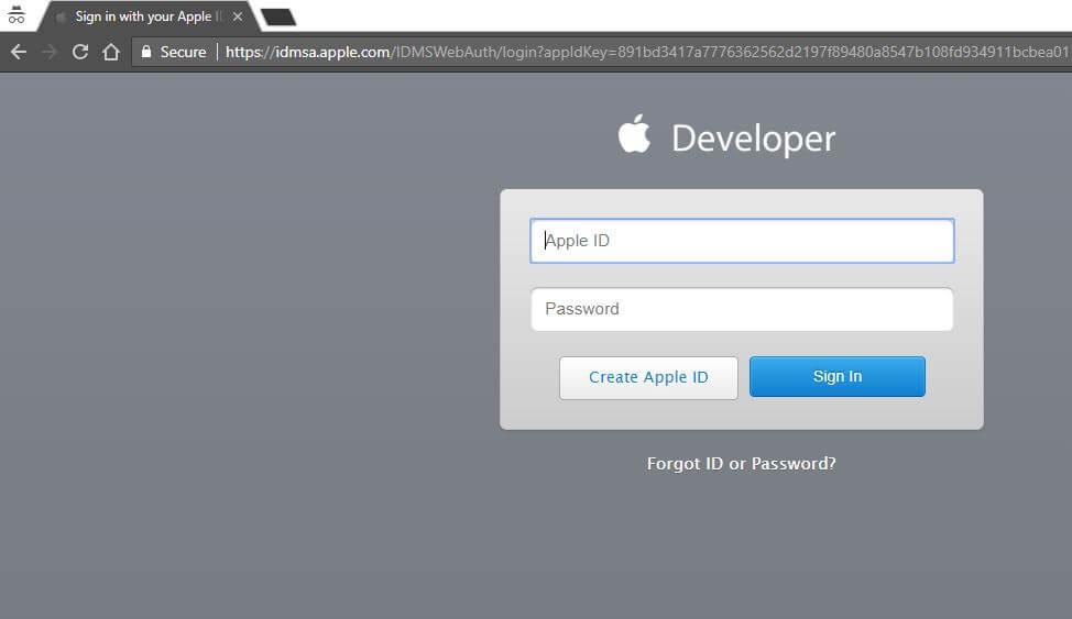 Apple Developer login for download MacOS