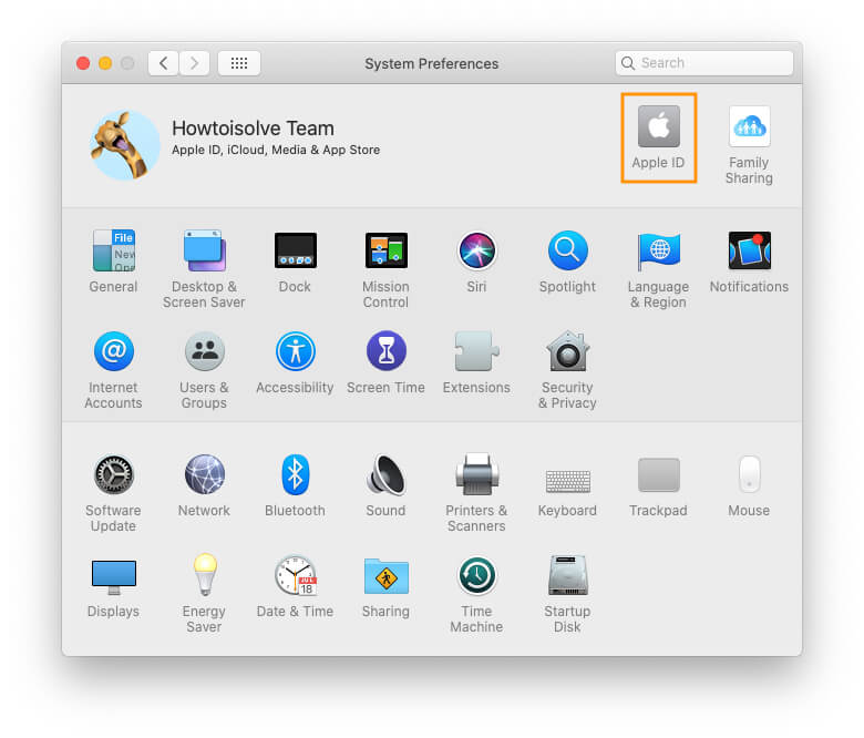 Apple ID on Mac System Preferences