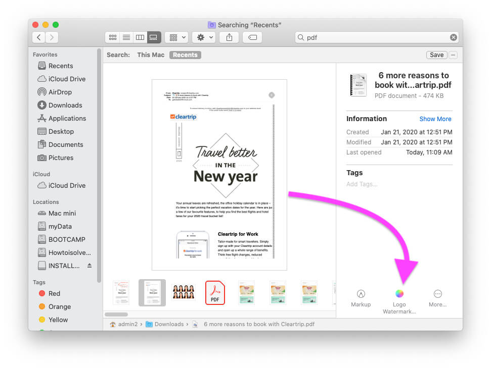 Apply Watermark to PDF file from Finder