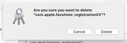 Delete FaceTime Keychain Profile on Mac