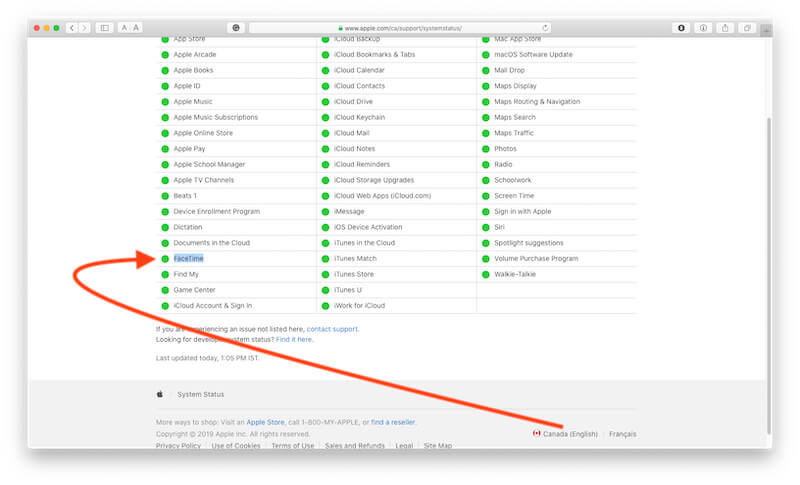 FaceTime in Apple System Status