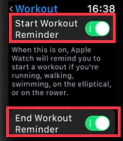 Howto toggle start workout reminder on Apple Watch 4 and series 3 watchos 5