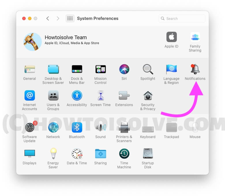 Notifications Settings on System Preferences on macBook Mac