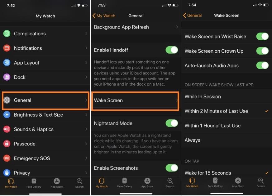 Open watch app tap on general then tap wake screen