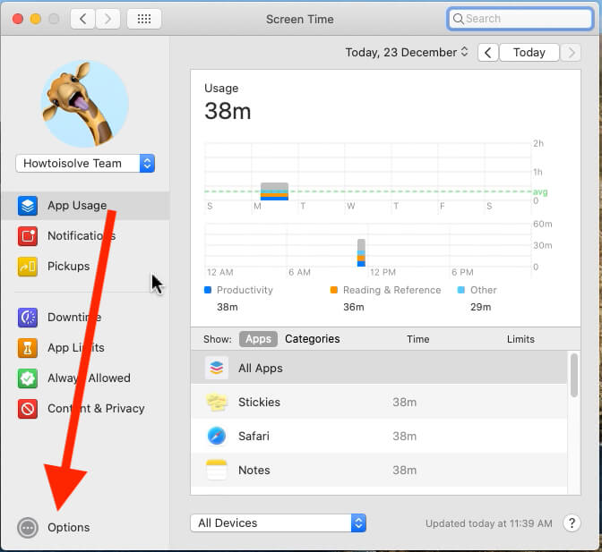 Options under the screen time on Mac