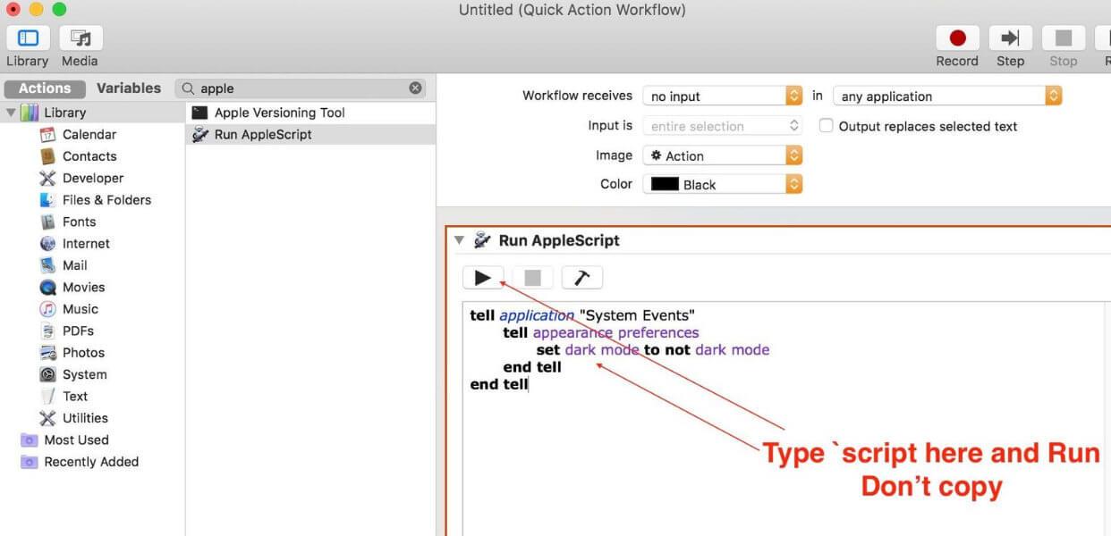 Run AppleScript in mac Mojave