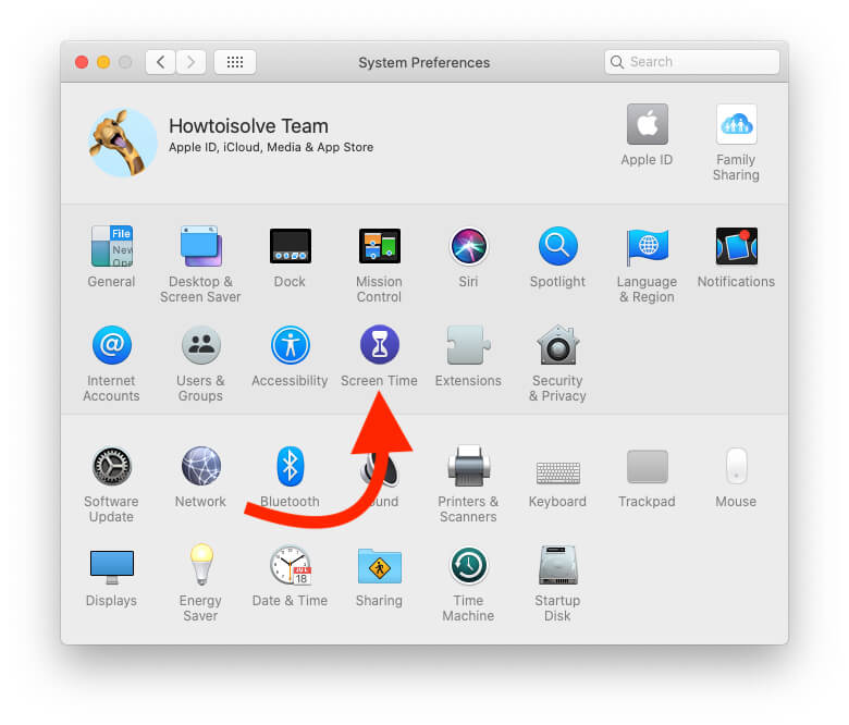 Screen Time under the System Preferences on Mac