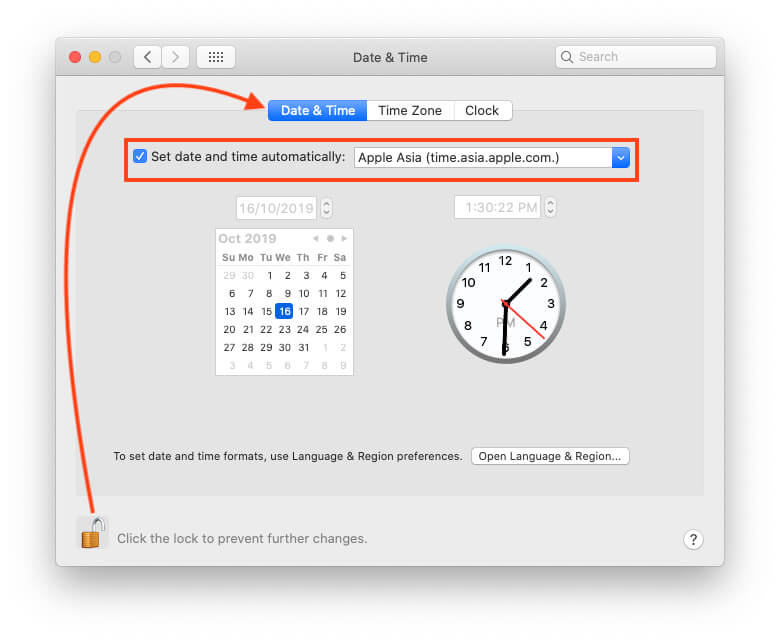 Set Date and Time Automatically on Mac