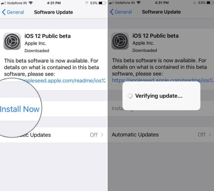 Tap on install Now then wait untill verifying update