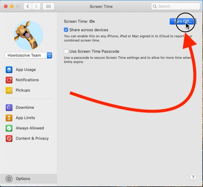 Turn off Screen Time on Mac