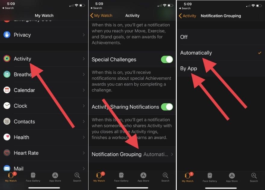 in watchOS 5 Enable Notification by App on Apple Watch