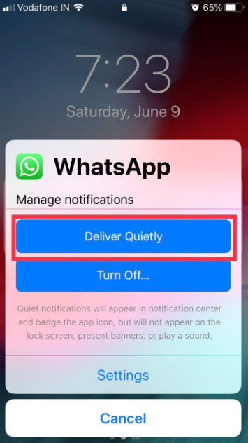 ios 12 enable deliver quietly notifications for specific apps on iPhone and iPad