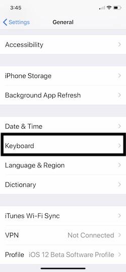 1 keyboard Settings on iPhone