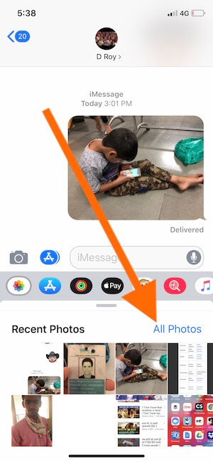 3 Access all photos or Camera from Messages app in iOS 12