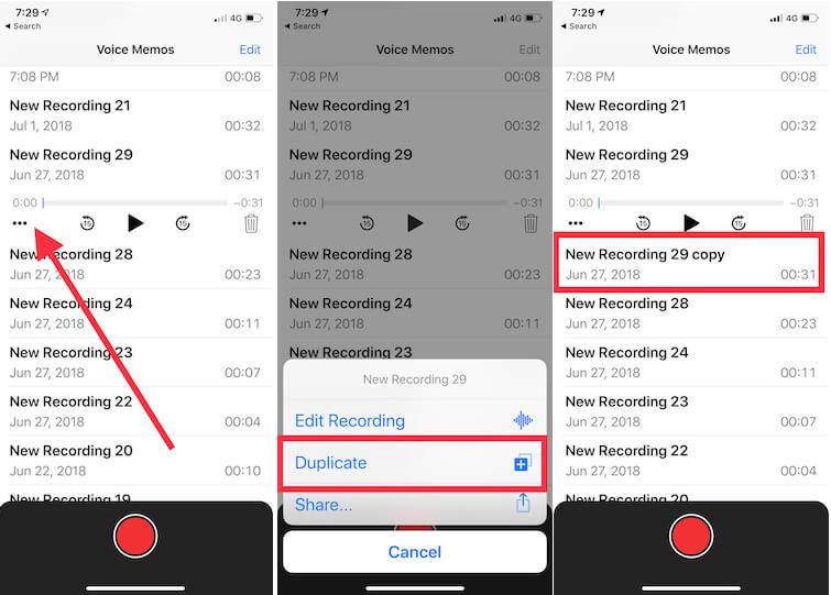 3 Duplicate Voice memos clip on iPhone