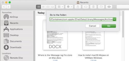5 Enter iMessage log file location on Mac
