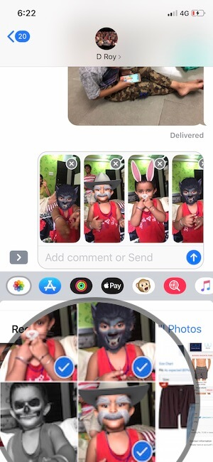 5 Select Multiple photos and send in Message app