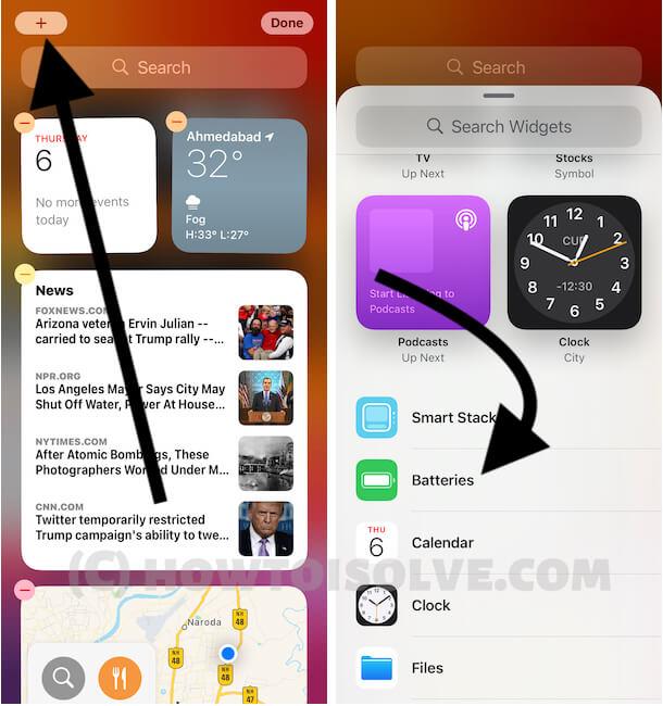 Add Battery Widget on iPhone today widget Screen