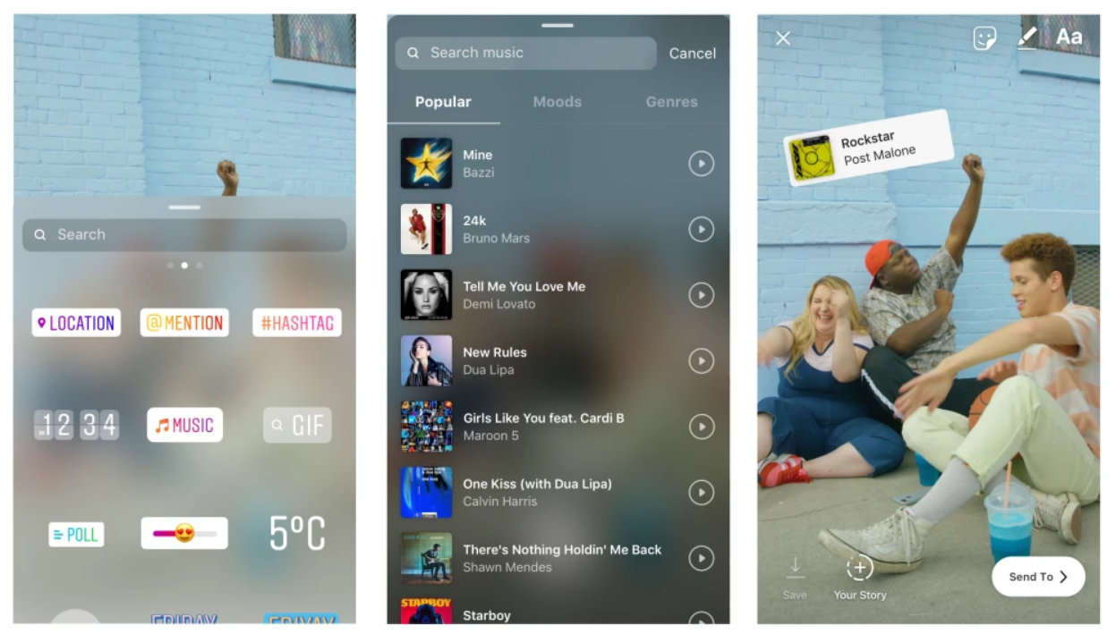 Add Music to Instagram Stories on iPhone Open instagram App record story tap on Sticker iCon tap Music then choose populer music to upload then Send to or post as story