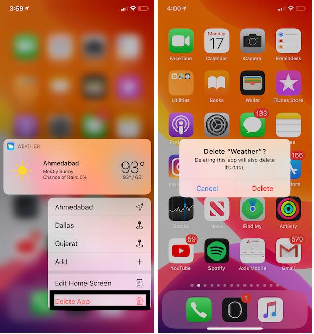 Delete Weather app on iPhone