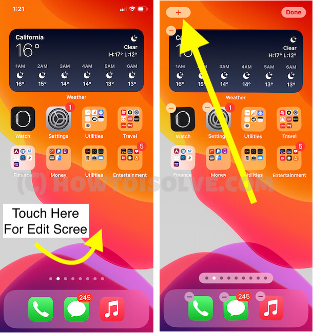 Edit iPhone home screen and Add a new widget option on iPhone screen in iOS 14 or later iOS Version
