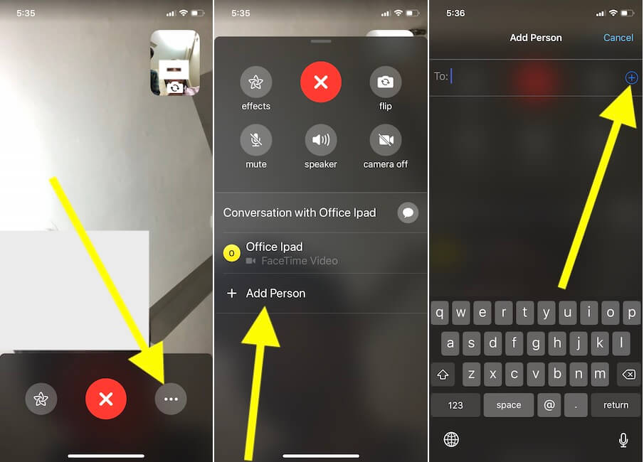 1 Add Person in FaceTime Video call on iPhone