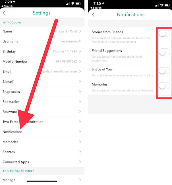 1 Snapchat Notification Settings on iPhone and iPad