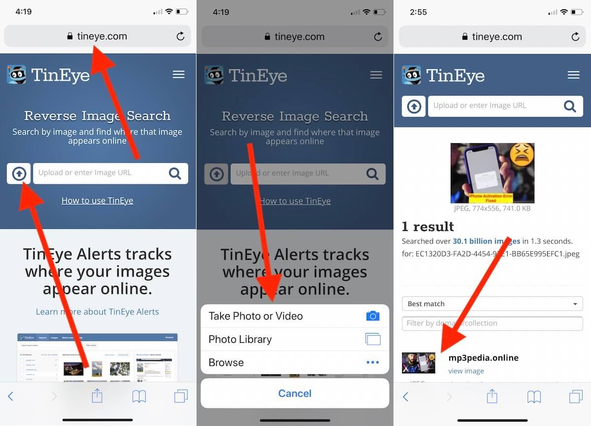 1 Tineye image search use on iPhone