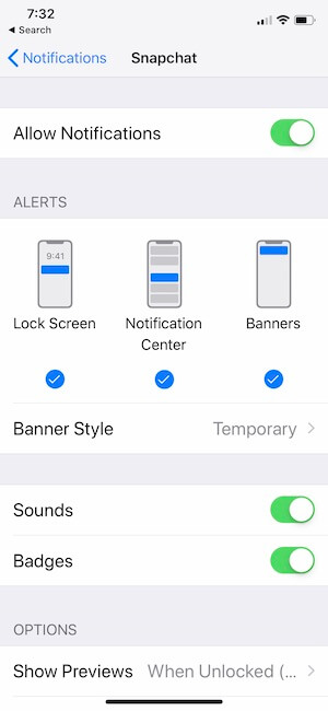 3 Snapchat Notifications settings on iOS