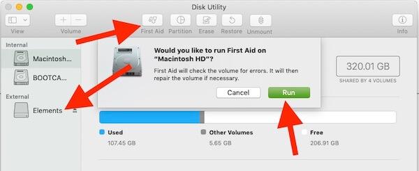 First Aid run on External Drive on Mac